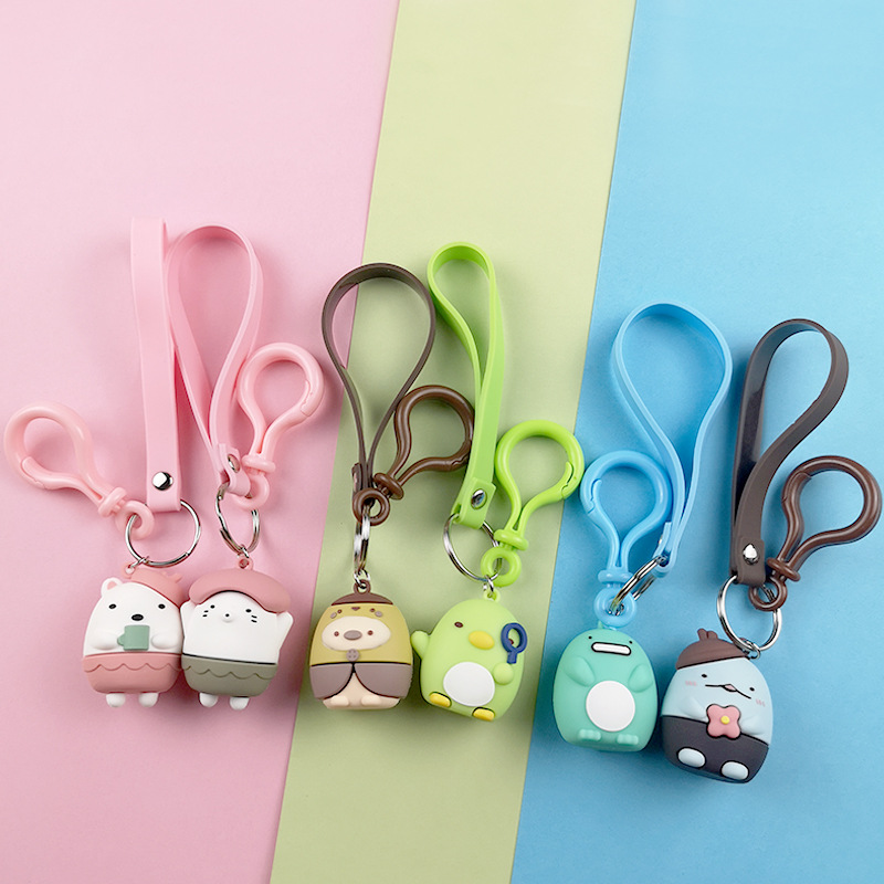 New Cartoon Pink Bear Keychain Cute Flower Doll Girl Child Toy Ladies