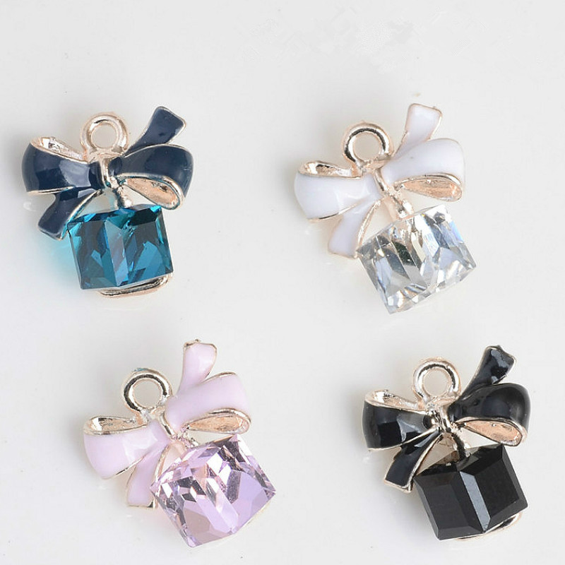 MRHUANG 10pcs/lot Bow Square Glass Enamel Charms Oil Drop Zinc Alloy Gold-Color Floating Pendant Fashion Jewelry Accessories(China)
