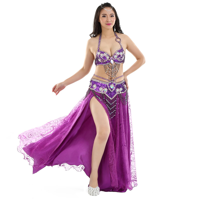 Adult Belly Dance Costume Professional Oriental Dance Performance Clothing Belly Dance Sequin Bra Belt Split Skirt 2/3pcs Set