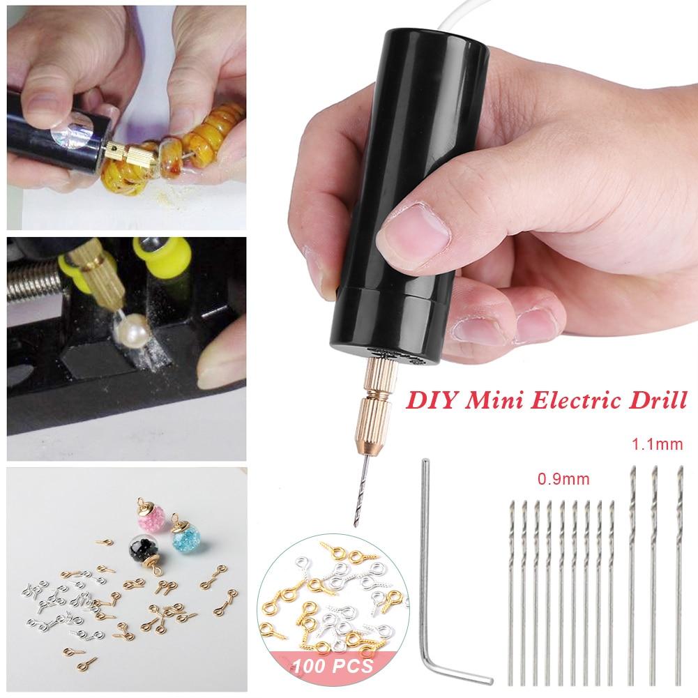 Mini broca de mão usb alimentado handheld conjunto de broca giratória com bocados de broca de torção para jóias de madeira de metal