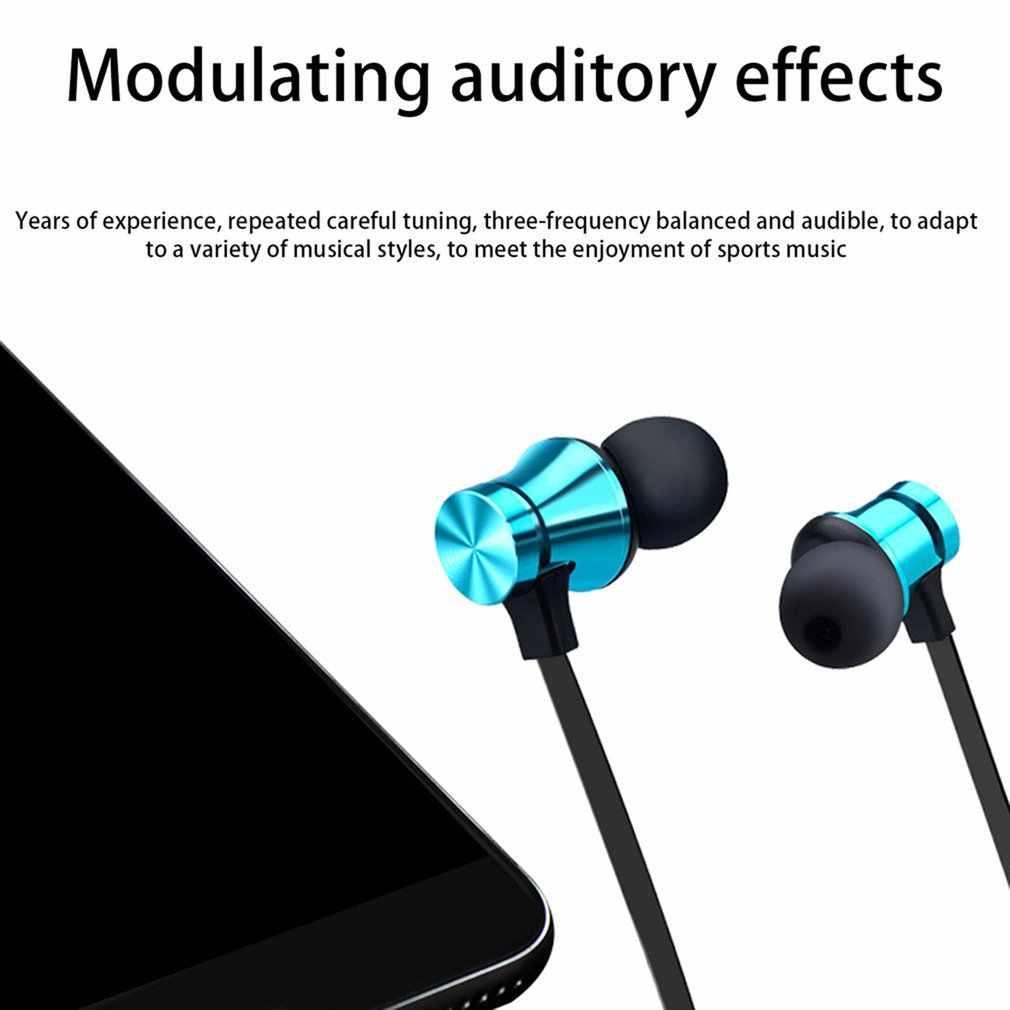 Magnetic Bluetooth 4.2 Earphone Sport Nirkabel Neckband Headset Headphone dengan MIC Stereo Musik untuk Semua Smart Phone