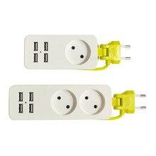 Power Strip 1/2 EU Plug 1200W 1.5m Wall Multiple Socket Travel Adapter 4 USB Port for Mobile Phones