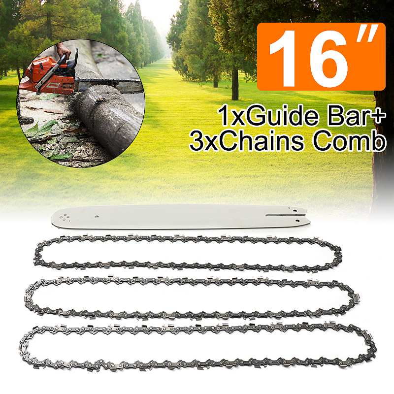 "NEW 4Pcs/Set 16 Inch 3/8LP 050"" Chain Saw Guide Bar With 3pcs Chains For STIHL 009 012 021 E180 MS180 MS190 MS250 HT70"