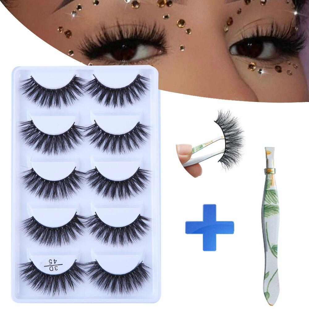MB 3D 5 Pairs Mink Eyelashes Natural long False lashes Thick HandMade Full Strip Lashes Volume Soft faux cils extension makeup(China)
