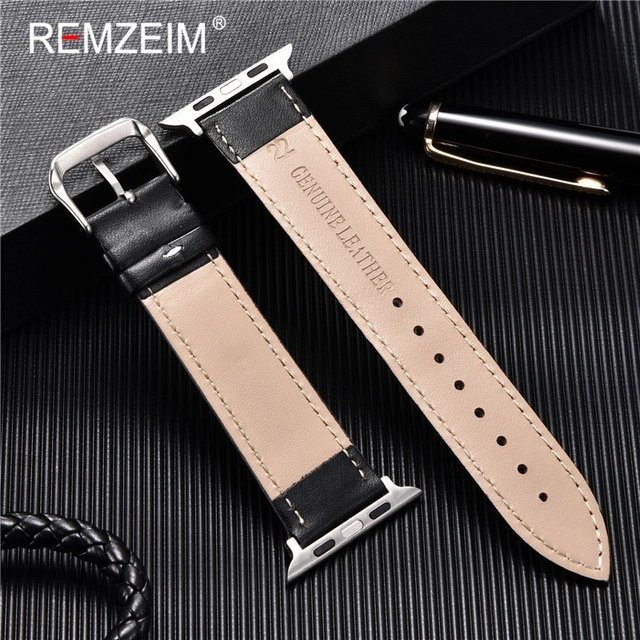 Calfskin Genuine Leather Watchband 38mm 40mm for iwatch 1 2 3 4 5 Soft Material Replace Wrist Strap 42mm 44mm for Apple Watch 4