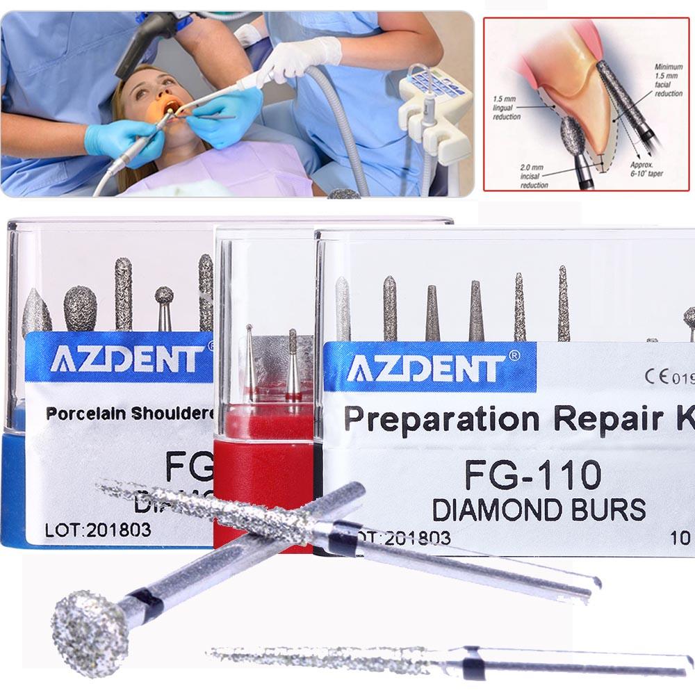 1Boxes Dental Diamond Burs Drill Dental Burs Dia-burs For High Speed Handpiecess Medium Dentist Tools