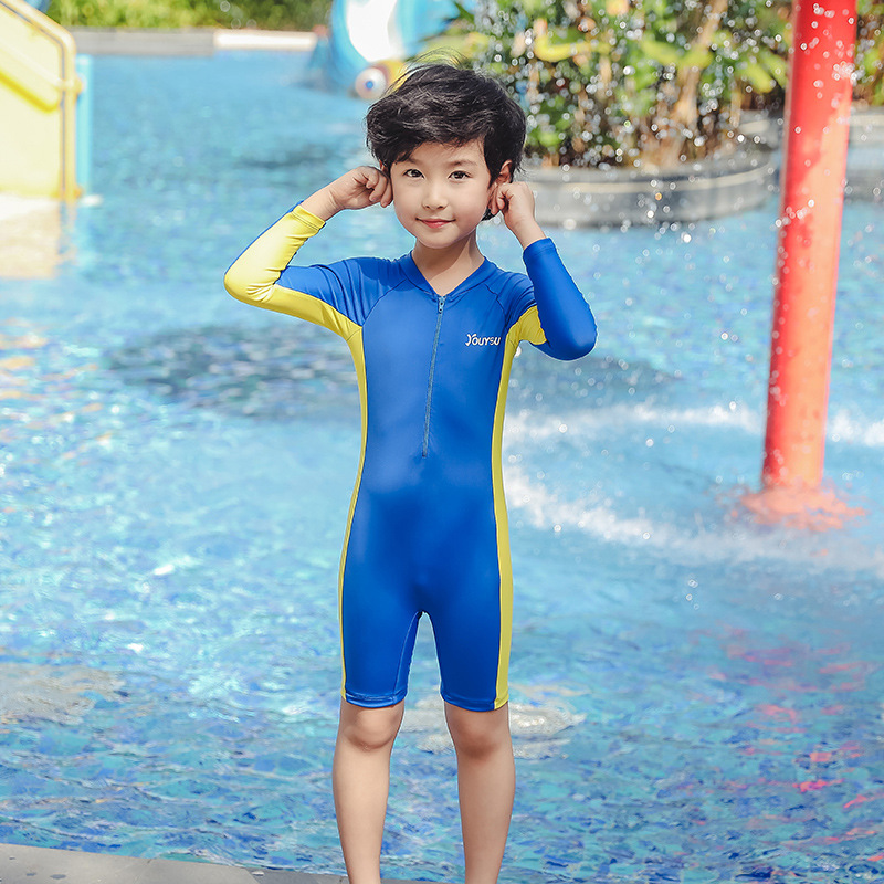 KID'S Swimwear BOY'S One-piece Big Boy Small CHILDREN'S Long Sleeve Beach Sun-resistant Boys And Girls Baby Cute Bathing Suit