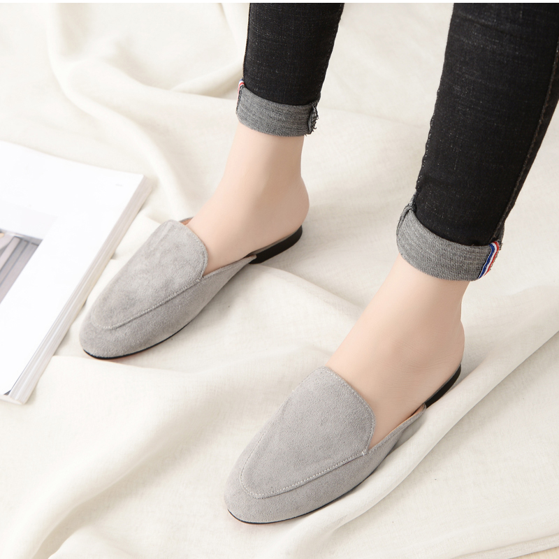 Women Slipper Shoes Half Slippers Mules Flats Shoes 2019 New Female Casual Ponited Flats Loafers Solid Color Mules Flat 5