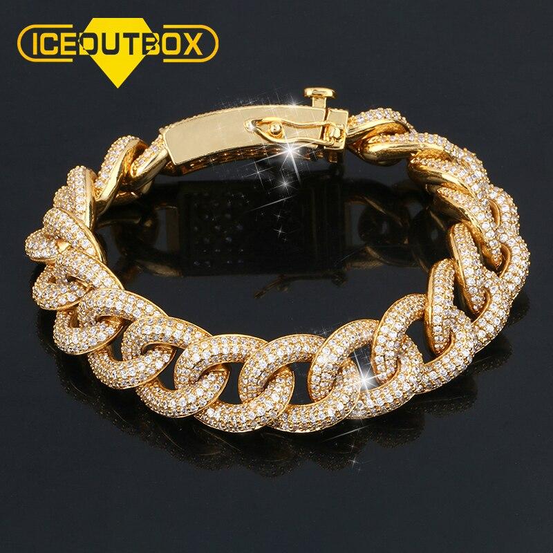 Bracelet de 14mm d'épaisseur avec AAA Micro pavé de cristal or Miami gourmette cubaine lien chaîne Bracelets pour hommes Hip Hop Bracelet livraison directe