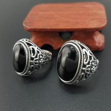 цена Solid 925 Sterling Silver Mens Ring Vintage Punk Style Black Onyx Natural Stone Women Jewelry онлайн в 2017 году