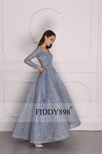 Image 3 - Luxury Evening Dress 2020 Long Sleeve A Line Shiny Crystal Beaded Lace Evening Party Gown Robe de Soiree NE67