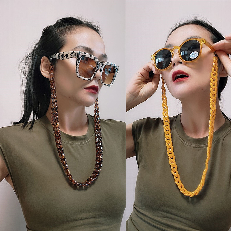 70cm Fashion Women Men Sunglasses Chains Black Acrylic Beads Chains Anti-slip Reading Glasses Chain Eyewear Lanyard Rope