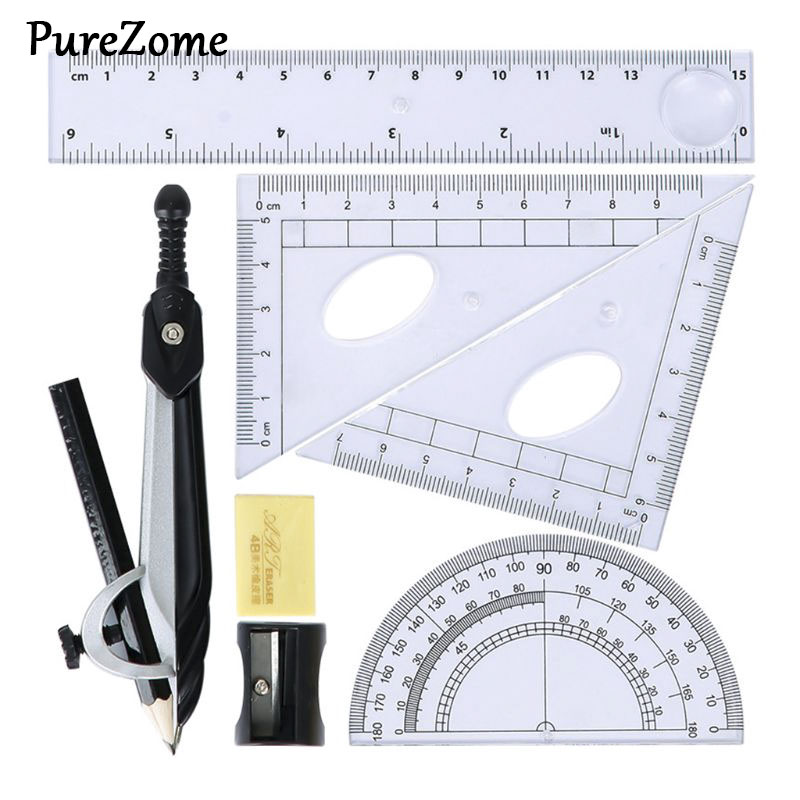 7pcs/set Math Geometry Protractor Drawing Compass Ruler Triangle Math Study Tool Kit School Supplies