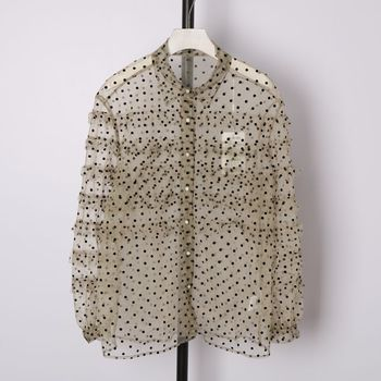 2020  Spring Women's Long sleeve sweet Polka Dot  Sheer Chiffon Blouse Top B620 fleece dot applique semi sheer top