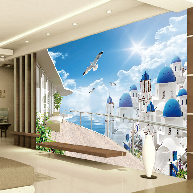 3D Seamless Large Mural Mediterranean Wallpaper Bedroom Wall Cloth Living Room Television Sofa Background Wallpaper Sea View