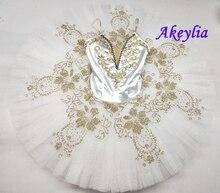 أزياء جامزاتي توتو للمحترفين للبالغين ، تنورة رقص باليه باللون الذهبي الأبيض ، تنورة قصيرة للأطفال