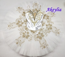 Adult Professional Gamzatti Tutu Classical White Gold Ballet Dance Stage Tutu Children Costumes Nutcracker Ballet Pancake skirt
