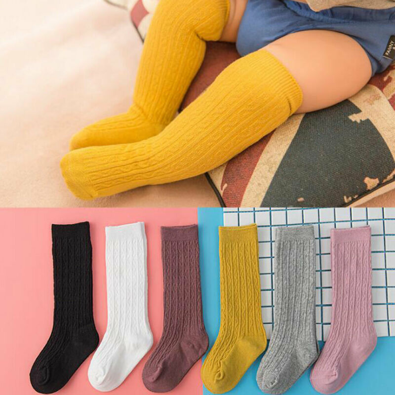 Baby Toddler Girls Kids Knee High Socks Solid Color Tights Leg Cotton Warmer Stockings 0-3Y