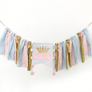 First Birthday Boy Party Supply One Banners Decoration Ribbon Pull Flags for Baby Chair Decors Diy Letters Crown Birthday Banner