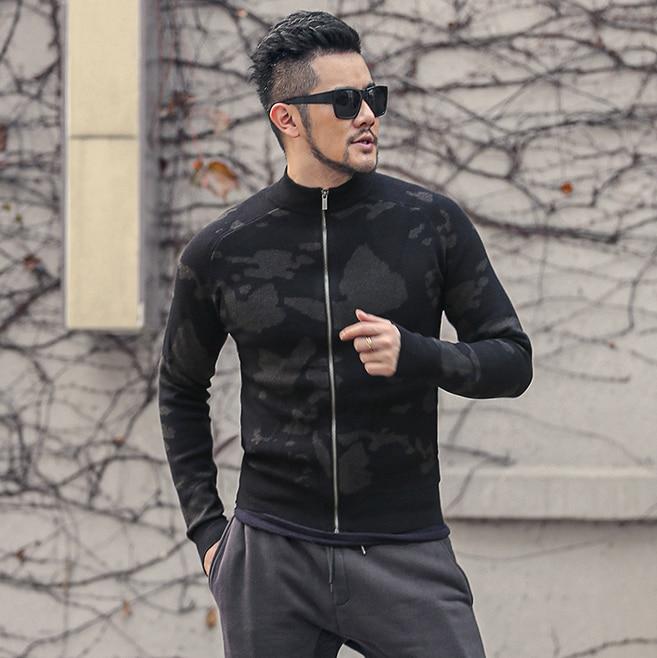 Autumn New Men's Slim Fit Printed Sweater Cardigans Mens Casual Zipper Sweater Coat Jacket J799-2