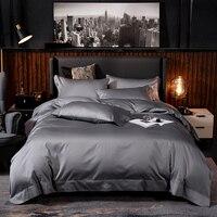 Reiner Ägyptischer Baumwolle Einfarbig Bettwäsche set Ultra Soft Premium (Bettbezug Bettlaken Kissen Shams) königin König Größe 4/6Pcs