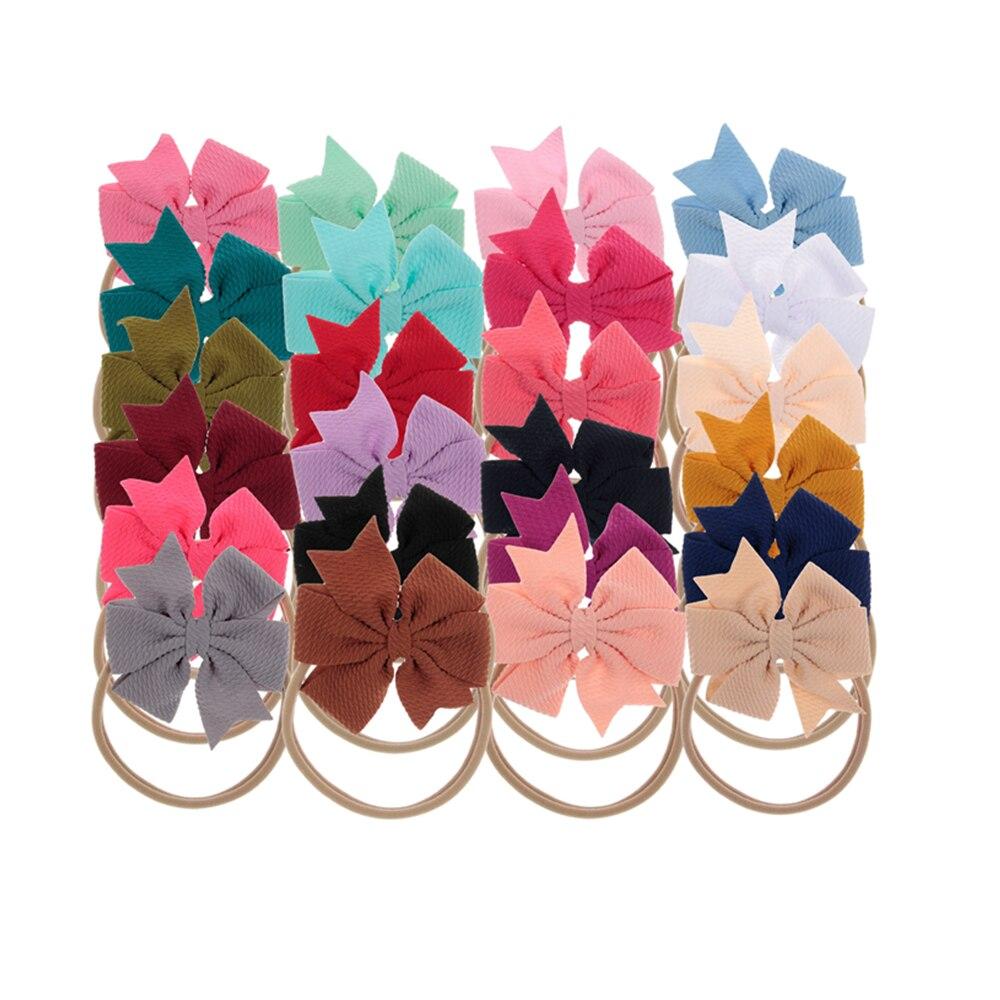 New 5pcs/lot Chiffon Swallowtail Bows Nylon Baby Headbands Kids Elastic Hair Bows Hairbands Baby Photo Prop Hair Accessories