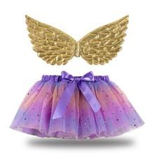 Princess Girls Rainbow Unicorn Pony wings And Tutu Tulle Skirt Kids Children Dress Up Halloween Christmas Fancy Party Costume