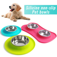 junejour Silicone Stainless Steel Pet Bowl Non-slip Dog Cat Feeder Food Water Feeding Double Bowls(China)