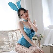 Bonito coelho sexy lingerie uniforme seduz coelho vestir azul veludo paixão bodysuit para o natal trajes femininos
