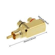 цена на Copper Audio Splitter Plug RCA 1 Male to 2 Female AV Socket Connector Adapter