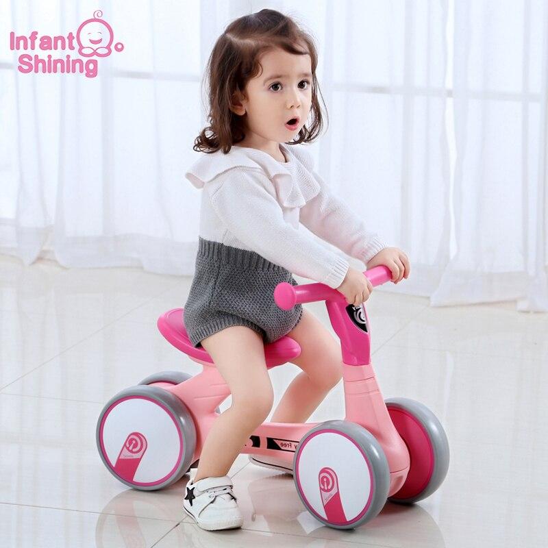 Infant Shining Kids Bike Scooter Baby Walker 4 Wheels Car Toy Baby Walker 1 3Y Children