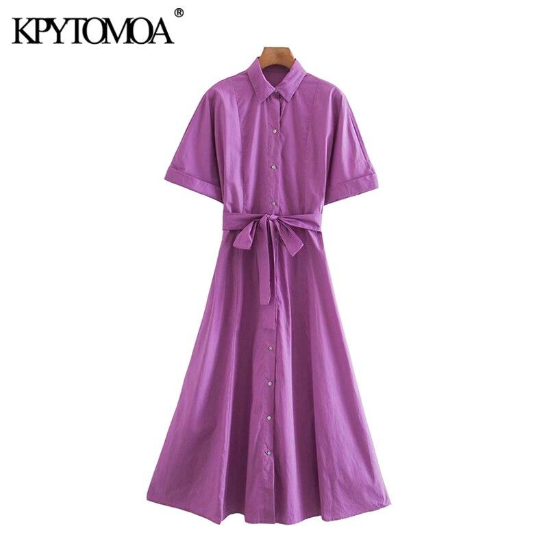 KPYTOMOA Women 2020 Chic Fashion With Belt Button-up Loose Midi Shirt Dress Vintage Short Turn-up Sleeves Female Dresses Mujer