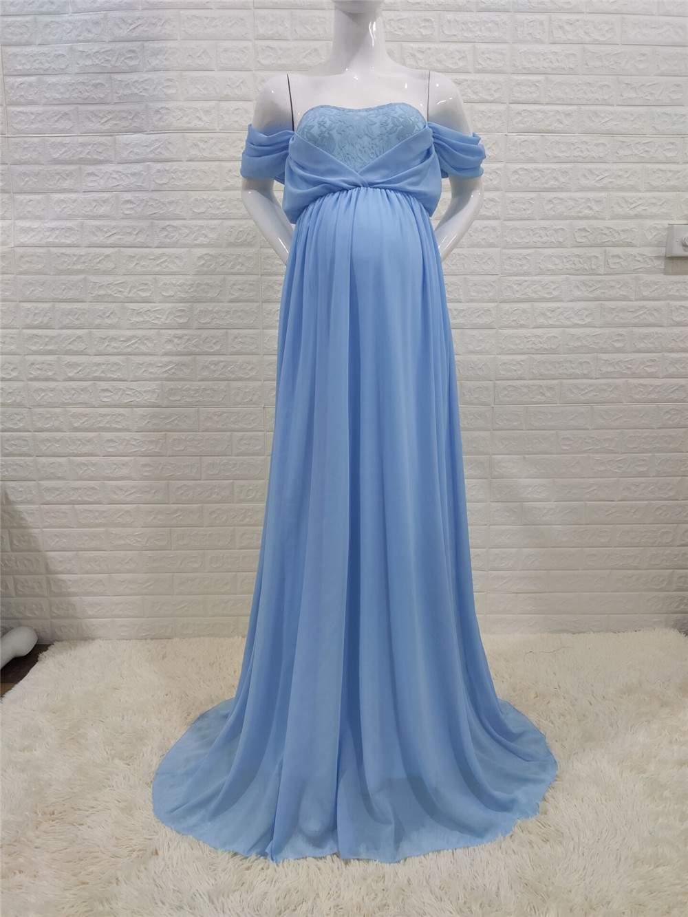 Shoulderless Sexy Maternity Dress Photo Shoot Long Pregnancy Dresses Photography Props Lace Chiffon Maxi Gown For Pregnant Women (16)
