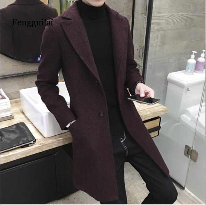 New Long Trench Coat Men Windbreak Winter Fashion Mens Overcoat 40 %Wool Quality Thick Warm Trench Coat Male Jackets 5xl