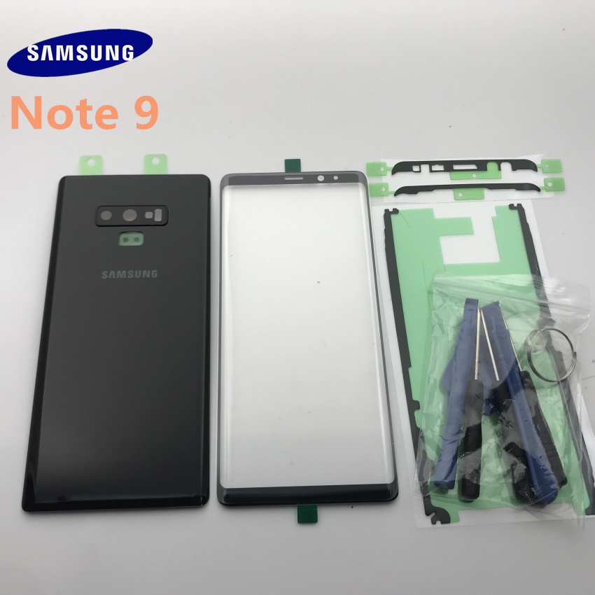 Original Back Glass Cover Rear Battery Cover Door with Camera lens+Touch Screen Front Glass For Samsung Galaxy NOTE 9 N960 N960F|Mobile Phone Housings & Frames| |  - title=