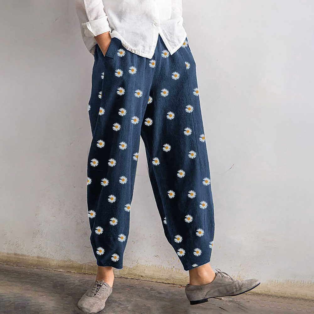 Oranje Zwart Daisy Boho Bloem String Hoge Taille Streetwear Losse Rechte Jogger Broek Skinny Vrouw Zomer Koreaanse Harajuku