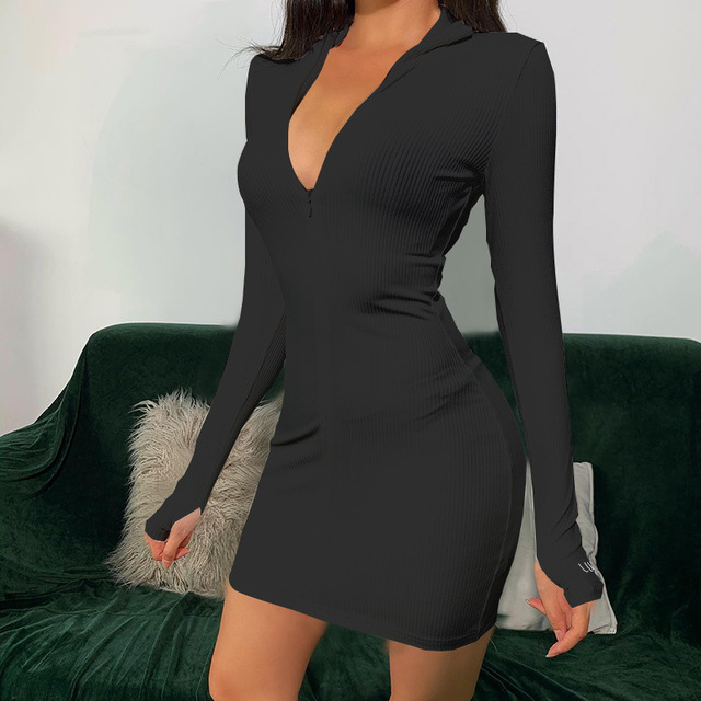 Sexy Zipper Christmas Club Party Dress Women Autumn Winter Embroidery Lucky Label Long Sleeve Knit Rib Bodycon Women Dress Robes 2