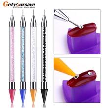 2019 nova ferramenta de broca de ponto de unha acrílico de cabeça dupla broca lápis de cera multi função ponto de cabeça de cera broca prego caneta