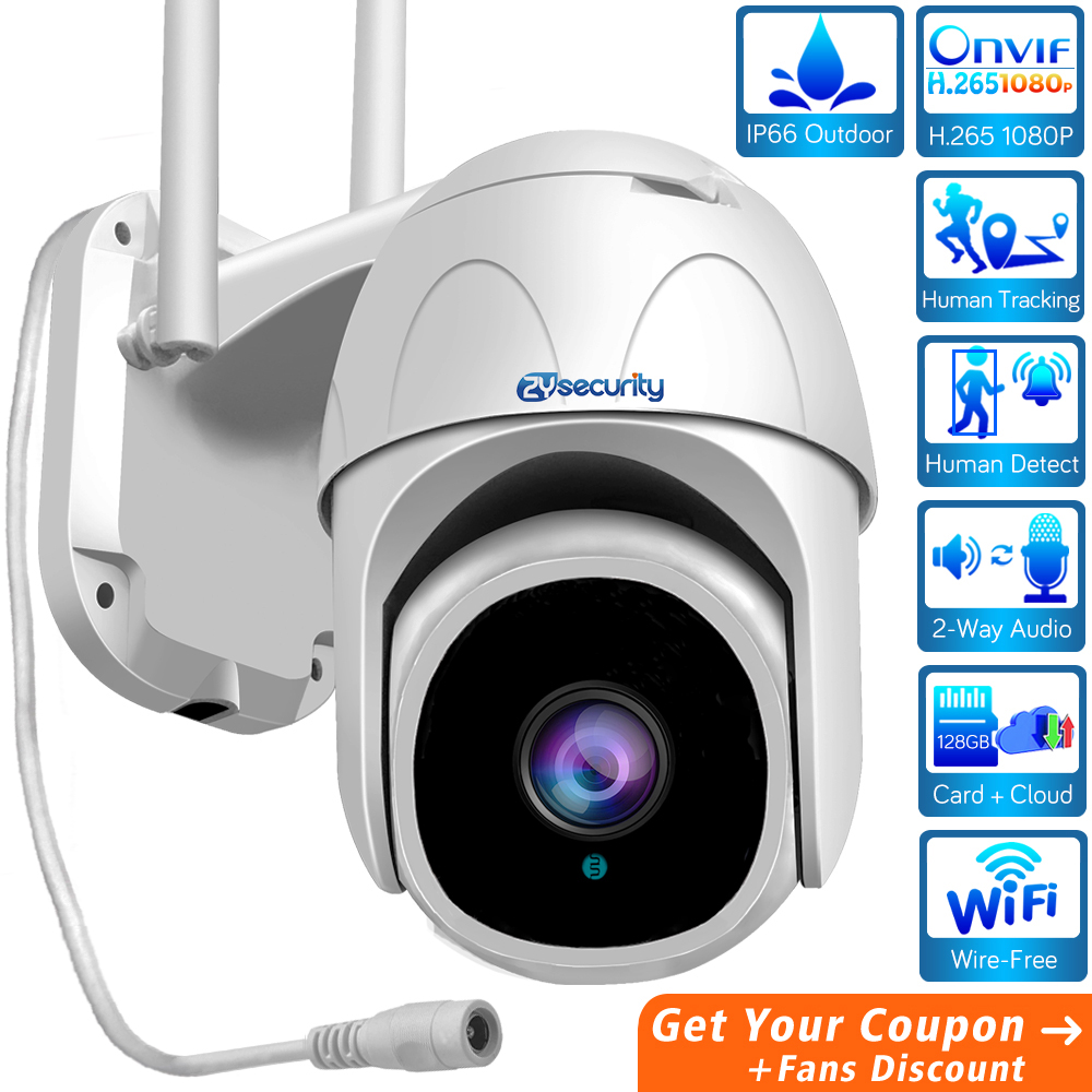 H 265 1080P Outdoor WiFi IP PTZ Camera Humanoid Tracking Cloud AI Speed Dome Camera Card 4X Zoom Audio Siren Alarm CCTV Camera