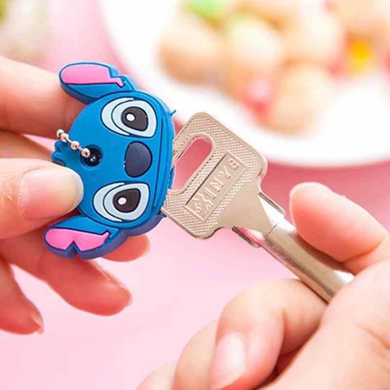 1 pc Cartoon Anime Keychain Nette Silikon Mickey Stich Bär Schlüssel Abdeckung Kappe Frauen Geschenk Eule Porte Clef Minne Schlüssel kette