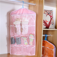Storage Bag 16 Pockets Clear Hanging Bag Socks Bra Underwear Storage Organizer Wardrobe Clothes Storage Closet Hanging Organizer