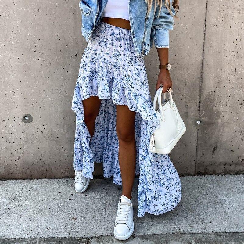 Женская Асимметричная юбка с высокой талией, повседневная трапециевидная длинная юбка с цветочным принтом и эластичным поясом, пляжные юбк...