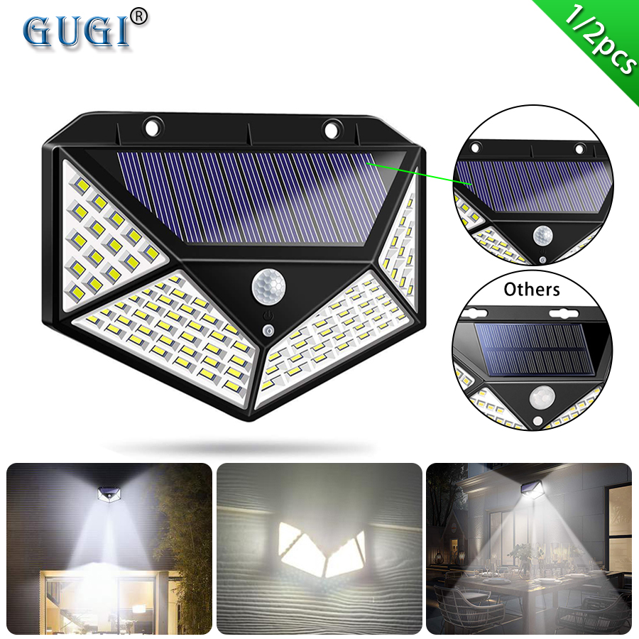 Garden Lighting 100 Led Solar Powered Pir Motion Outdoor Garden Light Security Flood Wall Lamp Garden Patio Coccinelli De