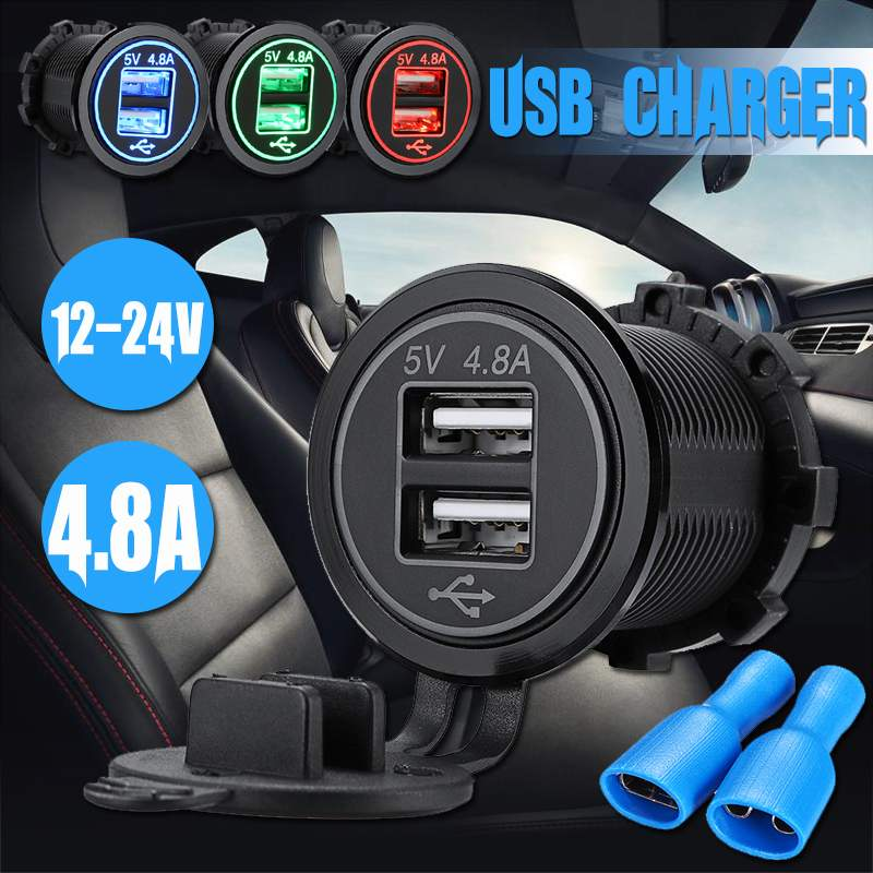 Car Motorcycle 4.8A Universal Car USB Charger Modified UBS 12V/24V Double Aperture Three Colors Waterproof And Dustproof Charger