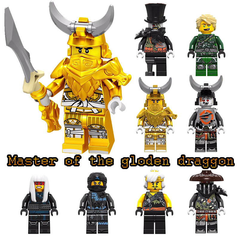 Single Sale Ninjagoinglys Figures Iron Baron Lloyd Garmadon Master Of Golden Dragon Chew Toy Wu(Teen) Muzzle Building Block