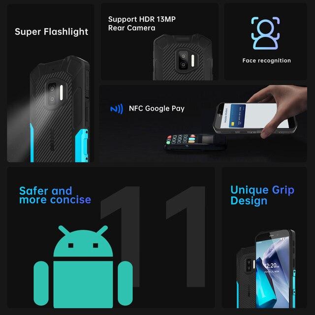 Oukitel WP12 Rugged IP68/69K SmartPhone 4GB+32GB 4000mAh Quad Core Android11 Mobile Phone 5.5'' HD+500W/1300W 13MP Camera Phone 6