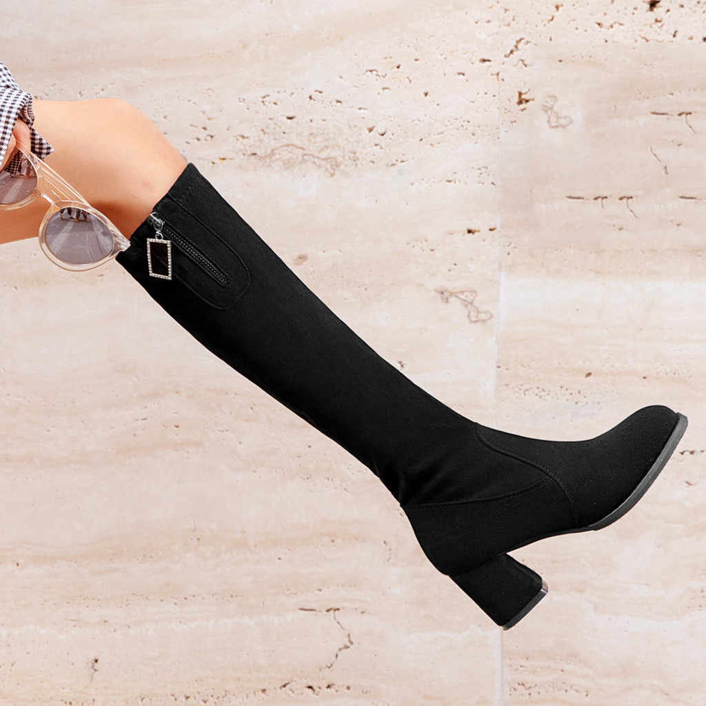 Frauen Stiefel Casual Leder Niedrigen High Heels Wildleder Schuhe Frau Über Knie Dicken Knöchel Stiefel Stiefeletten Große Größe Zapatos mujer