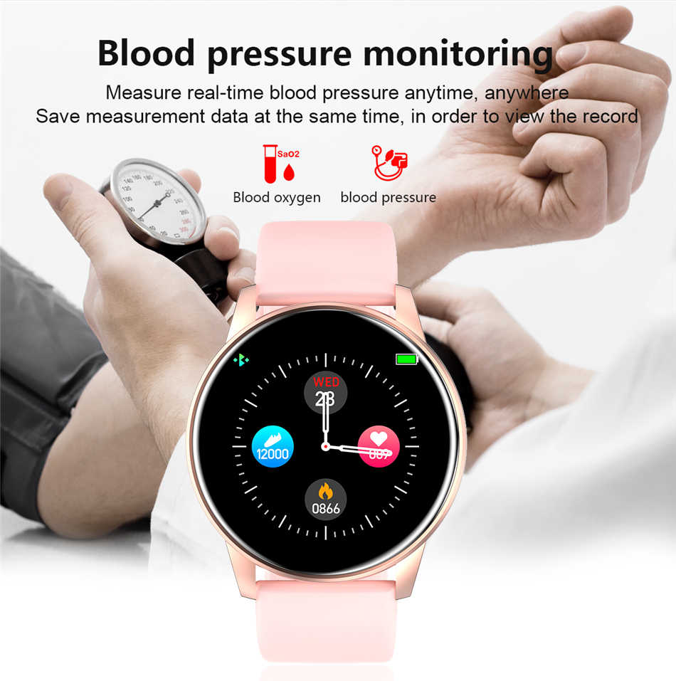 Femmes montre intelligente en temps réel météo prévision activité Tracker moniteur de fréquence cardiaque sport dames montre intelligente hommes pour Android IOS