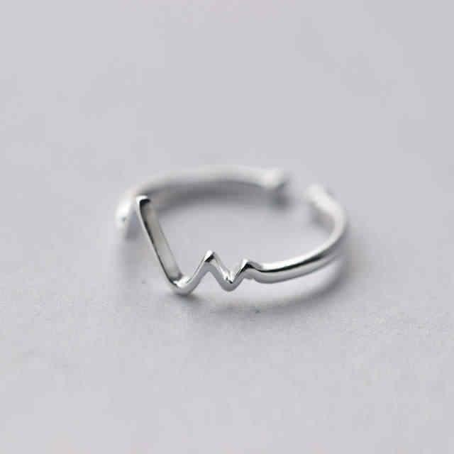 100% リアル 925 スターリングシルバーハートリング女性フリーサイズ結婚指輪ホットジュエリー