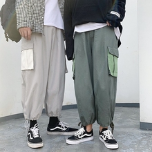 Overalls Men Fashion Contrast Color Casual Multi-pocket Tooling Pants Streetwear Wild Hip Hop Loose Joggers Sweatpants S-2XL